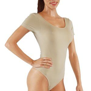 Other - Bodysuit with open back thong back short sleeves